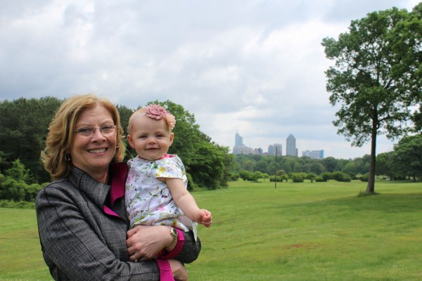 Nancy and her granddaughter at Dix Park.